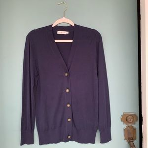 Tory Burch Navy 100% Cotton Cardigan
